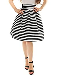 Allegra K Women's Striped High Waist Pleated Knee Length A-Line Skirt