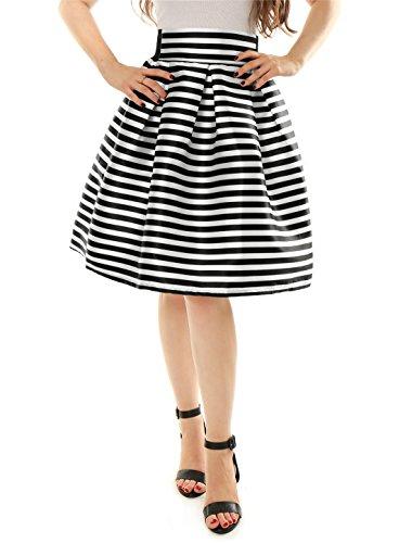 Waist Stripe Skirt (Allegra K Women's Striped High Waist Pleated A-Line Skirt S Black White)