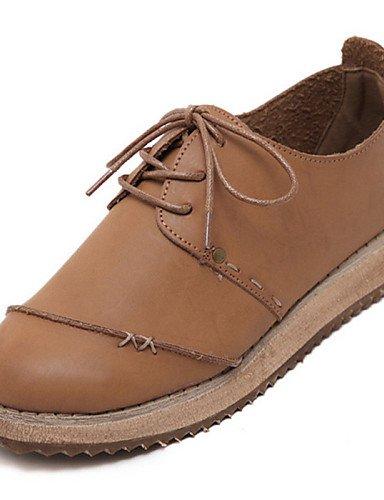 Uk6 Marrón Redonda Casual De Zq Tacón Brown Zapatos Oxfords Punta Beige Semicuero Cn39 Mujer us8 Eu39 Cuña vqqZc1U