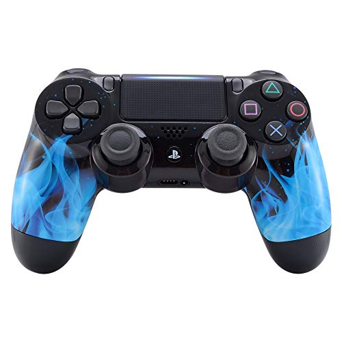 eXtremeRate Hydro Dipped Front Housing Shell Case, Faceplate Cover Replacement Kit for Playstation 4 PS4 Slim PS4 Pro Controller (CUH-ZCT2 JDM-040 JDM-050 JDM-055) - Blue Flame