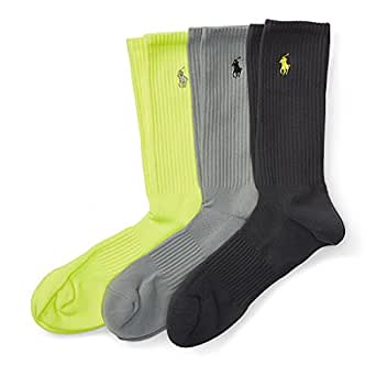 Ralph Lauren Men's Socks ATHLETIC CREW 3-Pack 10-13 ASSORTED