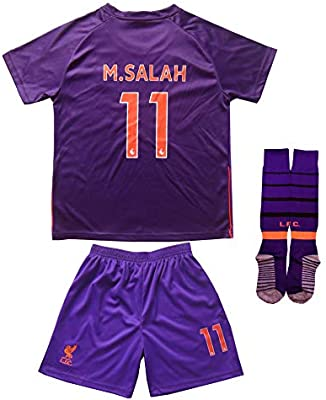 LES TRICOT 2018 2019 Liverpool Away  11 Salah Football Futbol Soccer Kids  Jersey Shorts c8572d629