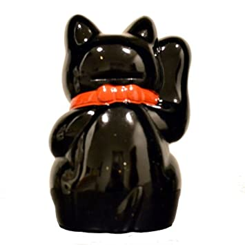 Made in Japan Lucky Cat 6.3 Tokoname Porcelain Black Maneki Neko Right Hand