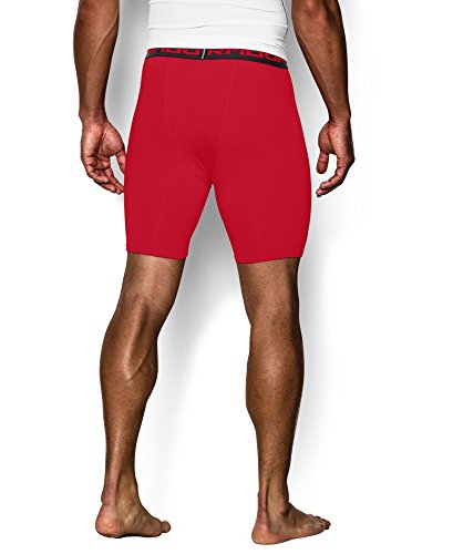 Under Armour Men's HeatGear Armour Compression Shorts – Mid, Red (600)/Black, Medium by Under Armour (Image #1)