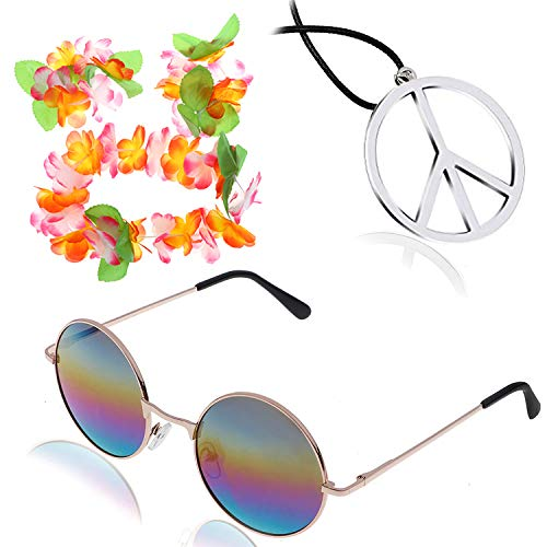 Hippie Costume Accessory Peace Sign Necklace and Hippie Glasses, Flower Crown Hair Wreath Headband and Wrist Hand Flower (Rainbow) ()
