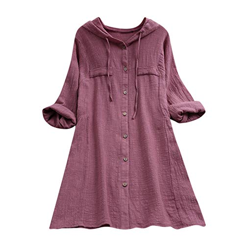 Aniywn Women Plus Size Cotton Linen Long Sleeve Hoodie Casual Button Long T-Shirt Blouse with Pocket Pink