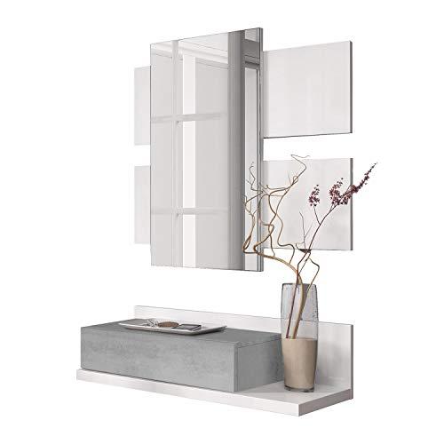 Habitdesign 0L6742A - Meuble d'entrée avec tiroir et Miroir, Meubles d'entrée Modèle Tekkan en Blanc Artik et Ciment Gris, Dimensions: 75 cm (Largeur) x 116 cm (Hauteur) x 29 cm (Profondeur)