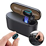 True Wireless Earbud Bluetooth 5.0 Earphone Sweatproof Noise Cancelling Earphone with Portable Charging Case Compatible with iPhone/iPad and Most Android Phones (Single Black)