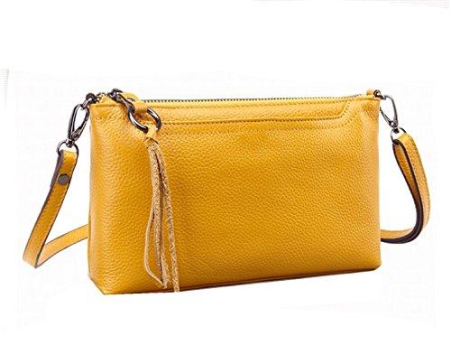 Yy.f Nuevos Bolsos De Cuero Bolso De Las Señoras Diagonal De Piel De Vaca 2 Colores Púrpura Amarillo Yellow