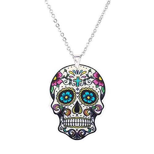 Pizazz Studios Cross Sugar Skull Mexican Day of The Dead Necklace