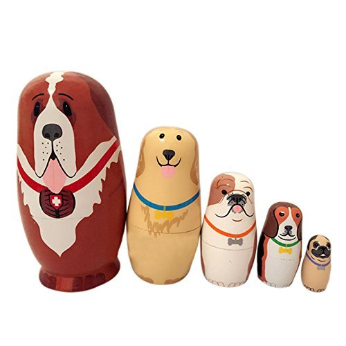 Palazze Russian Nesting Dolls Matryoshka - Dogs - Set of 5 (Dinosaur Nesting Dolls)