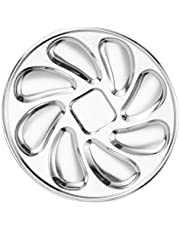 Yardwe Stainless Steel Oyster Plate Oyster Serving Grilling Pan Restaurant Tableware Oysters Shell Shaped Sauce Lemon Plates