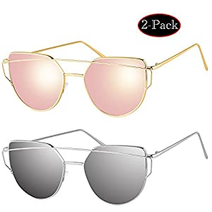 [Pack of 2]Elimoons Sunglasses for Women Men Cat Eye Mirrored Flat Lenses Metal Frame Sunglasses UV 400, Gold/Pink + Silver/Silver