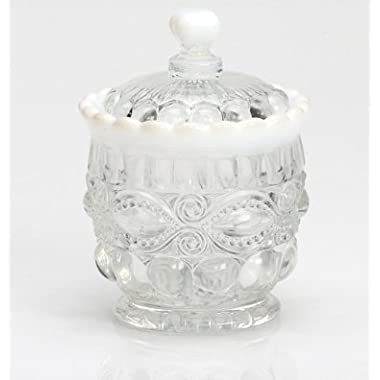 Mosser Glass Eye Winker Sugar Bowl - Crystal Opal