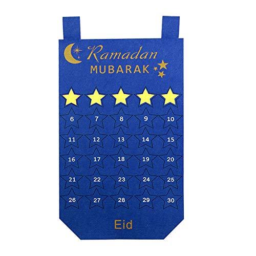 [해외]Wmbetter 펠트 이드 캘린더 30 일 카운트 다운 달력 30pcs 분리 별 이드 벽 매달려 라마단 장식 (파란색) / Wmbetter Felt Eid Calendar 30 Days Countdown Calendar with 30pcs Detachable Stars Eid Wall Hanging Ramadan Decorations (Blue)