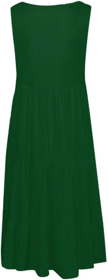 UJUNAOR damska spÓdnica na plażę letnia swobodny luźny kołnierz okrągły pełen kolor bez rękawÓw sukienka: Odzież