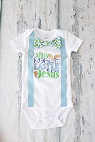 - Baby Boy First Easter Bodysuit Silly Rabbit Easter is for Jesus