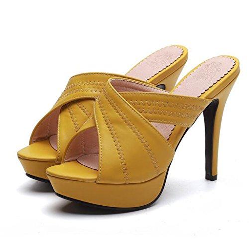 Kann Ferse Sommer Plattform PU High Hausschuhe Sandalen Gelb Weibliche Außerhalb Heels Dünne Tragen Wasserdichte ZwqnzC