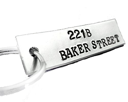 221B Baker St. Key Chain, Hand Stamped Sherlock Holmes Inspired Keychain