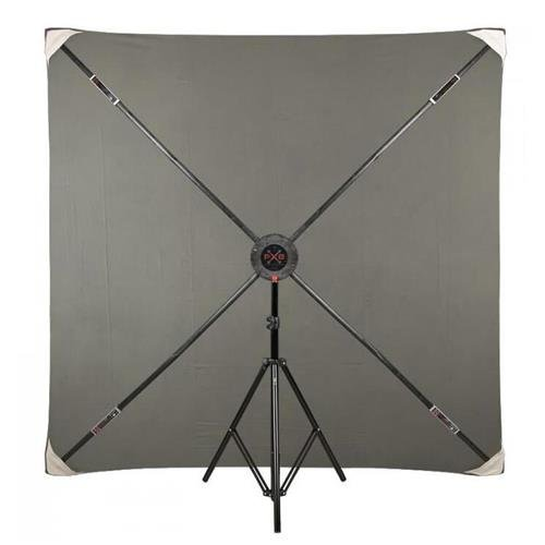 Studio Assets PXB Pro 6x6' Portable X-Frame Background Kit with Light Gray Muslin by Studio Assets