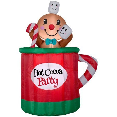 Gingerbread Man Decorations - Holiday Time 5 Foot Animated Gingerbread Man Mug Inflatable