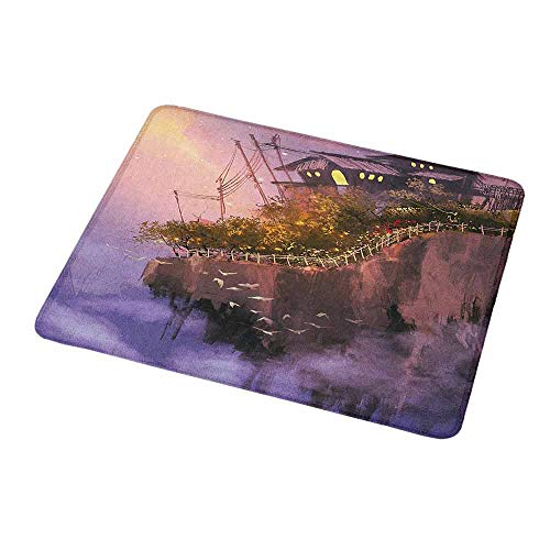Non-Slip Rubber Mousepad Fantasy,Old House Over The Cliffs on High Pink Sky Dreamy World Magical Foggy Town Image,Personality Desings Gaming Mouse Pad 9.8