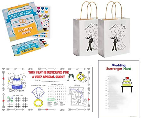 (12 Sets) Wedding Activity Kits for Kids: Gift Bags, Coloring Books with Stickers & Crayons, Placemats, Scavenger Hunt Coloring Pages -
