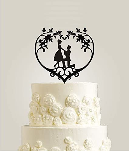 Custom Will You Marry Me Wedding Cake Topper Personalized Romantic Bride And Groom Couple Engagement Cake Decorations Amazon Co Uk Kitchen Home
