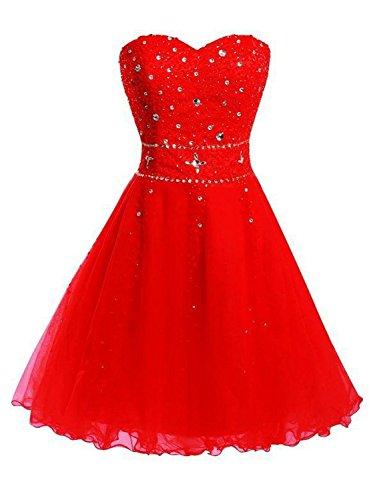 A Partykleider Brautjungfernkleider Damen Rot Abendkleider Tüll Kurz Linie Cocktailkleider Ballkleider JAEDEN Efgq0