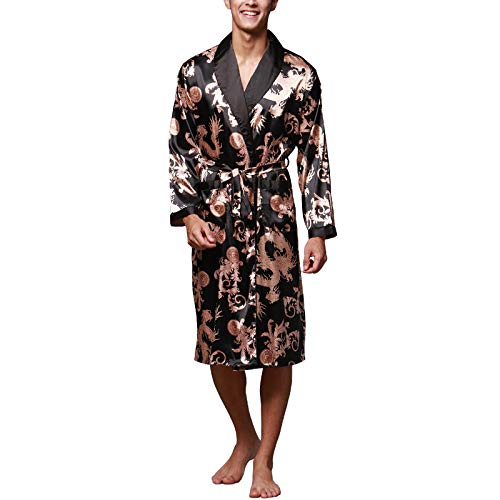 Lu#039s Chic Men#039s Satin Kimono Robe Silk Spa Bathrobe Luxurious Dragon Robe Pockets Loungewear Black US M Tag2XL