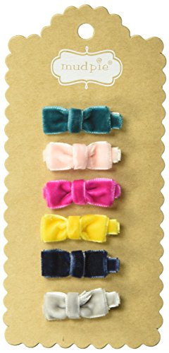 Mud Pie Baby Mini Velvet Fall Hair Bows 5 Piece Set, multi, ONE SIZE