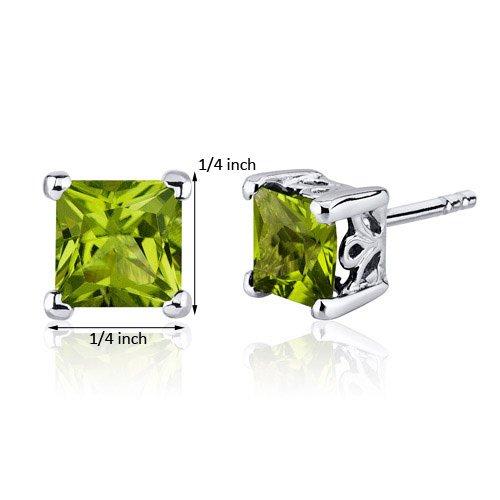 Peridot Stud Earrings Sterling Silver Princess Cut 2.00 Carats