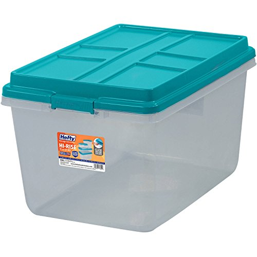 Single Unit 72-Quart Hefty Hi-Rise Clear Latch Box In Teal Sachet Lid and Handles