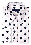 George's Men's 100% Cotton Big Polka Dot, White-Navy Dot, Size 16-16 1/2 34-35