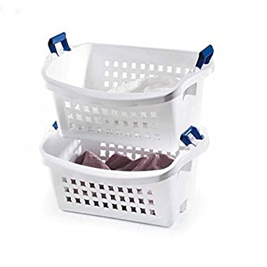 Rubbermaid 1.6 BU Stack-n-Sort Laundry Basket, White With Blue Handles, FG292800WHT
