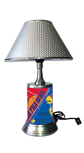 JS Table Lamp with Chrome Colored Shade, Kansas Jayhawks Plate Rolled in on The lamp ()