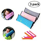 yizeda Kids Seat Belt Pillow |3 Pack Seat Belt Pillow Children|Universal Car SeatBelt Cushion Pillow| Car Travel Head Cushion, Washable Cover, Headrest Pink Gray Blue (3 color) (colorful)