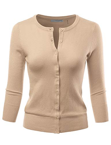 (LALABEE Women's 3/4 Sleeve Crewneck Button Down Knit Sweater Cardigan Taupe 2XL)