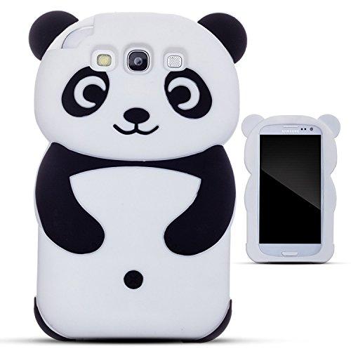 Galaxy S3 Silicone case, Anya 3D Cartoon Animal Panda Soft Silicone Rubber Cool Fun Cute Fashion Hot Case for Samsung Galaxy S3/S3 Neo i9300 for Guys Men Girls Teens Kids Women Black (Case Galaxy Phone S3 For Panda)