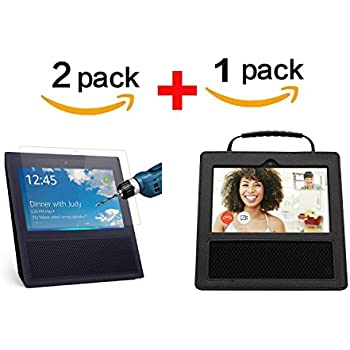 For Amazon Echo Show Case with 2pc/lot 9H Tempered Glass Screen Protector Guard Film