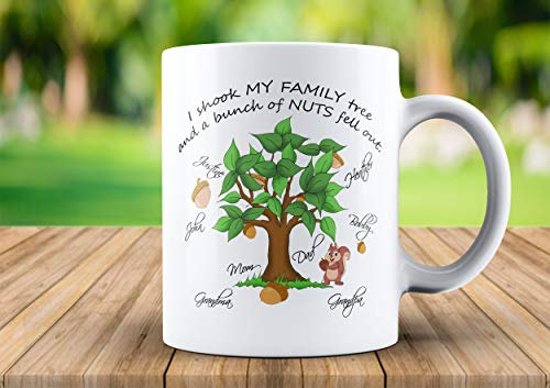 Coffee Mug, Personalized Gift, 11oz, Family Tree, Relatives, Nuts, Nutty Relatives, Gift, Family, Mug, Grandma, Grandpa, Mom, Dad, Coffee, Teacup, 11oz, 15oz, gift