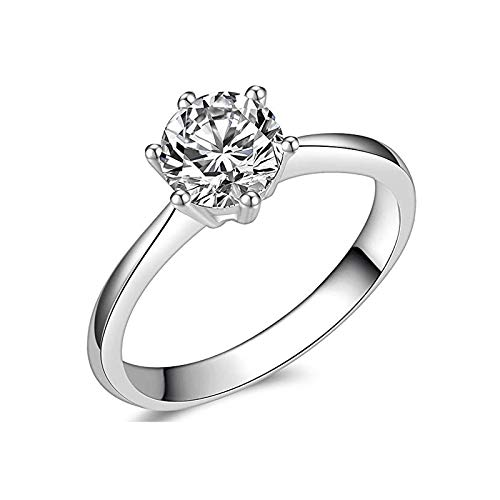 Brisk Brilliant Round Cut Simulated Diamond CZ 6-Prong Engagement Wedding Ring Sizes 4 to 9.5 (4)