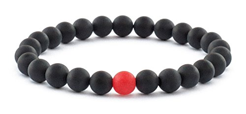 "Benevolence LA Bracelet for Men - Mens Bracelet Matte Black Onyx Red Beads and Handmade Semi-Precious Natural Stones (8mm, Large 8"") from Benevolence LA"