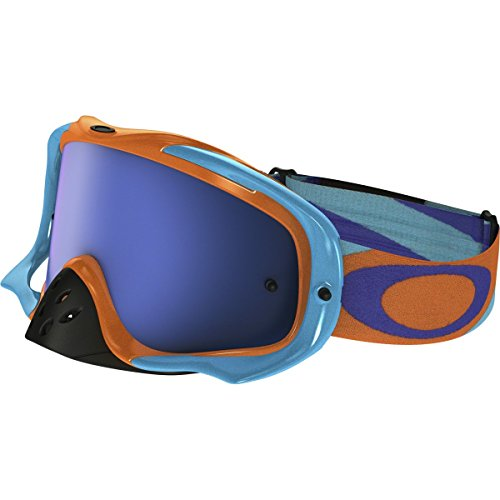 96bcfe1aaa0 Oakley Crowbar MX Heritage Racer Adult Off-Road Motorcycle Goggles Eyewear  - Orange Blue Black Ice Iridium Clear   One Size Fits All