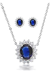 Bling Jewelry Simulated Sapphire CZ Oval Necklace Studs Set Rhodium Plated