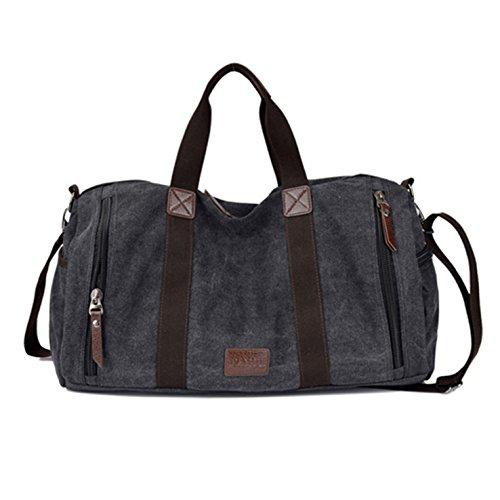 HeHe Unisex lienzo bolso bolsa de hombro bolsa de viaje Negro
