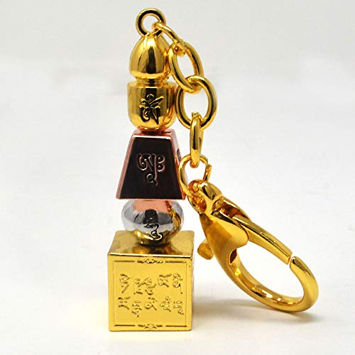 Feng Shui Tri-Coloured 5 Element Pagoda Hanging Keychain W3776
