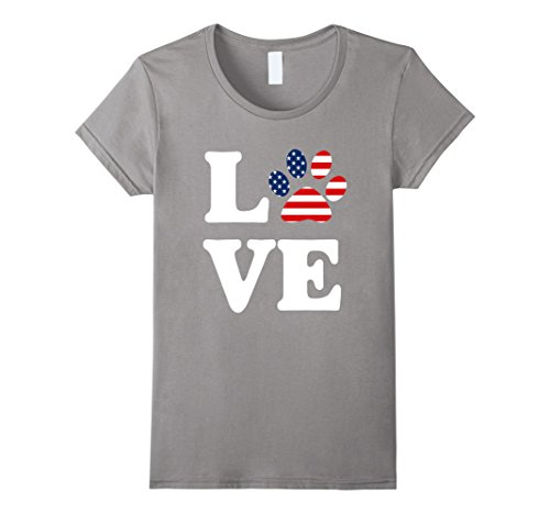 Womens USA Flag American Love Dog Paw T-Shirt Patriotic 4th of July Small Slate