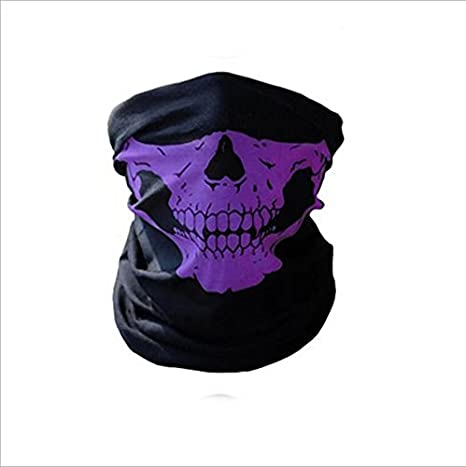RICISUNG Skull Tubular Protective Dust Mask Bandana Motorcycle Polyester Scarf Face Neck Warmer for Snowboard Skiing Motorcycle Biking red