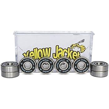 Yellow Jacket Premium Skateboard Bearings, Pro Longboard Bearings, 608, ABEC 9, Black Mamba (Pack of 8)